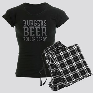 Burgers Beer Roller Derby Women's Dark Pajamas
