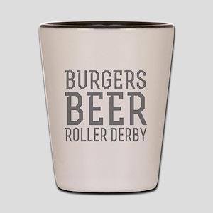 Burgers Beer Roller Derby Shot Glass