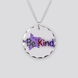 Be Kind with Colorful Text and Purple Star Necklac