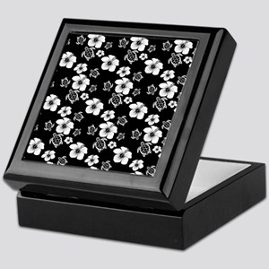 Black And White Hawaiian Pattern Keepsake Box