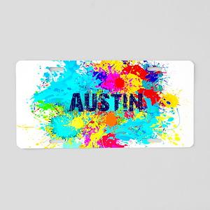 Austin Burst Aluminum License Plate