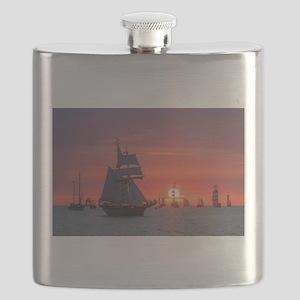 Windjammer in sunset light Flask