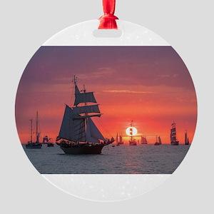 Windjammer in sunset light Round Ornament