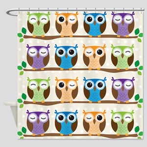 Colorful Owls Shower Curtain