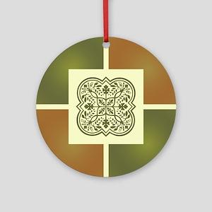 FLORAL MOTIF TILE Round Ornament