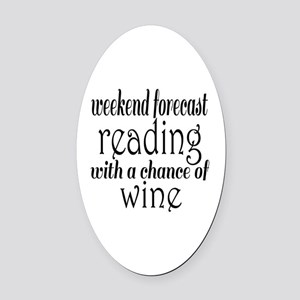 Reading and Wine Oval Car Magnet