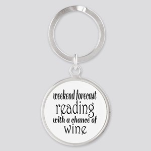 Reading and Wine Round Keychain