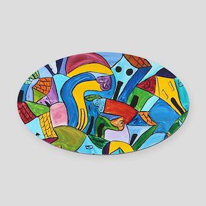Dancing village 3 Oval Car Magnet