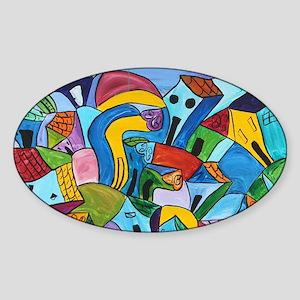 Dancing village 3 Sticker (Oval)