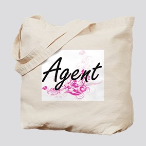 Agent Artistic Job Design with Flowers Tote Bag