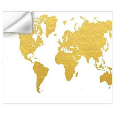 Gold world map wall decal gumiabroncs Gallery