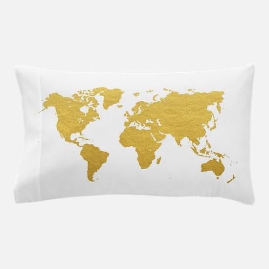 Gold World Map Pillow Case