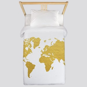 Gold World Map Twin Duvet
