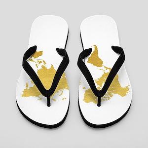 Gold World Map Flip Flops