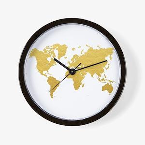 Gold World Map Wall Clock