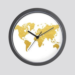 World map wall clocks cafepress gold world map wall clock gumiabroncs Images