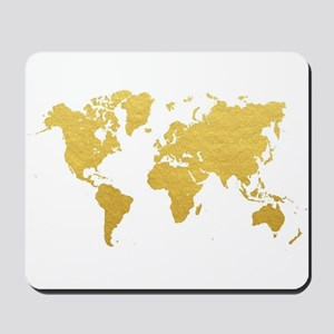Gold World Map Mousepad