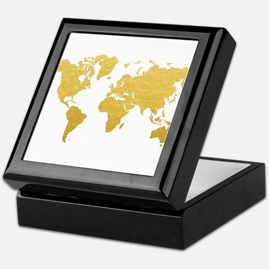 Gold World Map Keepsake Box