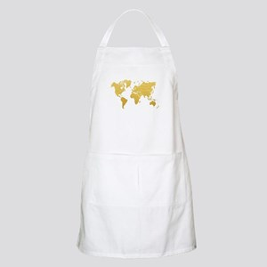 Gold World Map Apron