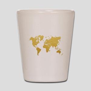 Gold World Map Shot Glass