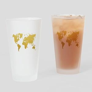 Gold World Map Drinking Glass