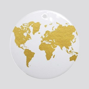 Gold World Map Round Ornament