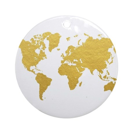 Gold World Map Round Ornament by Admin_CP71974680