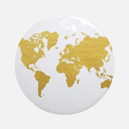 Gold World Map Round Ornament