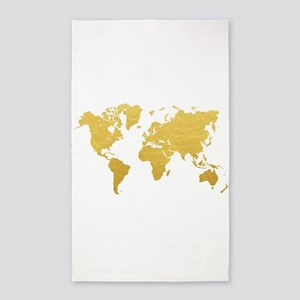 Gold World Map Area Rug