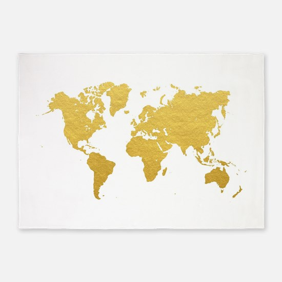 Gold World Map 5'x7'Area Rug