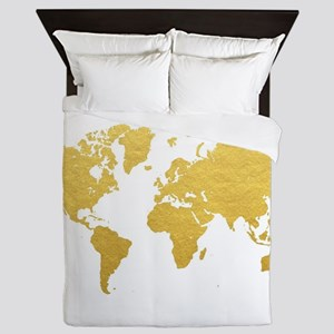 Gold World Map Queen Duvet