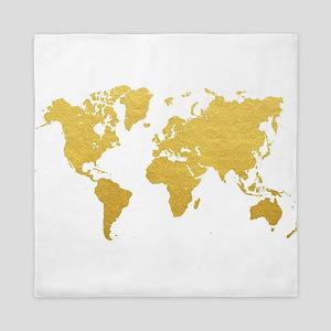 gold world map queen duvet