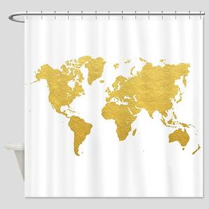 Gold World Map Shower Curtain