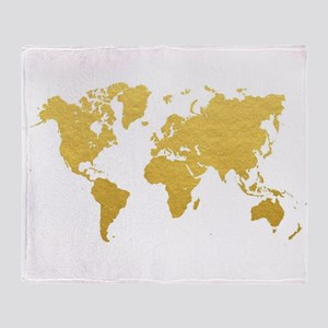 Gold World Map Throw Blanket