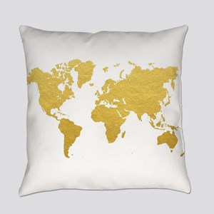Gold World Map Everyday Pillow