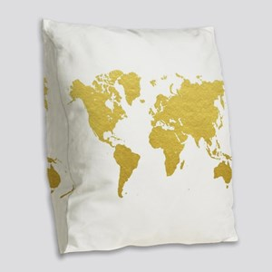 Gold World Map Burlap Throw Pillow