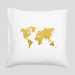 Gold World Map Square Canvas Pillow