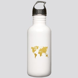 Gold World Map Stainless Water Bottle 1.0L