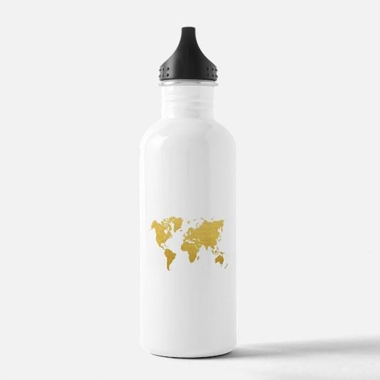 Gold World Map Water Bottle