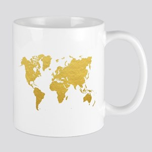 Gold World Map Mugs