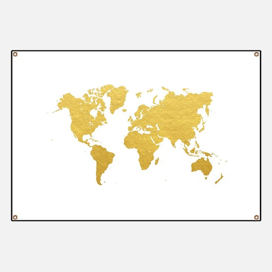 Gold World Map Banner