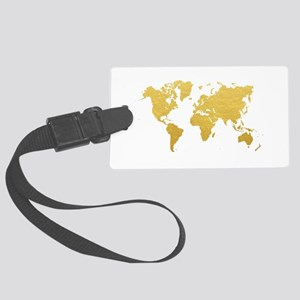 Gold World Map Large Luggage Tag