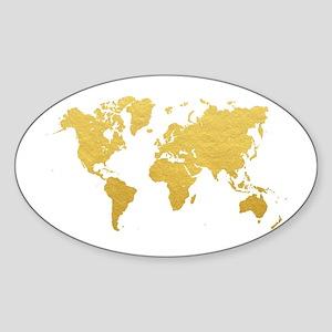 Gold World Map Sticker