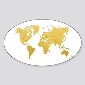 World map stickers cafepress gold world map sticker gumiabroncs Image collections