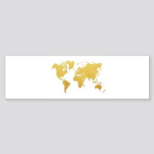 World map bumper stickers cafepress gold world map bumper sticker gumiabroncs Choice Image