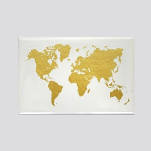 Gold World Map Magnets