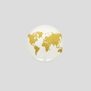 Gold World Map Mini Button