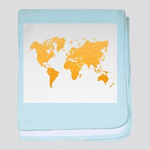 Gold World Map baby blanket