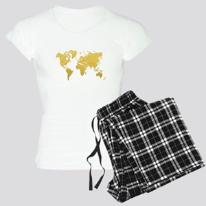 Gold World Map Women's Light Pajamas