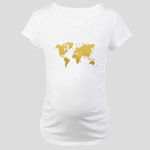 Gold World Map Maternity T-Shirt
